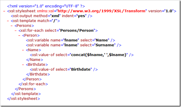 xsl stylesheet tag indicates that this is an xsl document