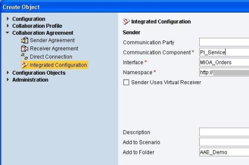 Create Integrated Configuration Object