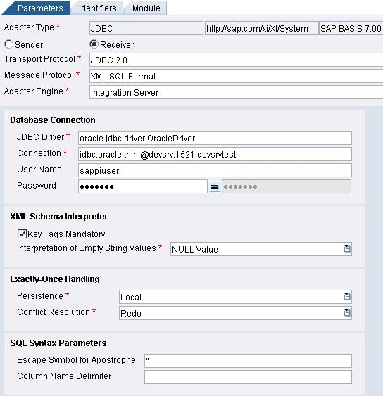 Typical Configuration of SAP PI JDBC Receiver Adapter